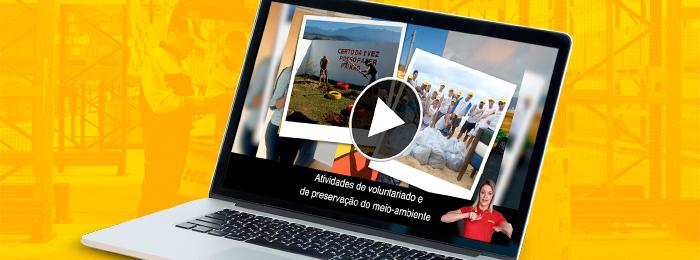 Arte com um laptop aberto em primeiro plano. Na tela do laptop, uma foto com pessoas fazendo uma horta e outra com pessoas segurando grandes sacolas. No pano de fundo, pessoas trabalhando em uma fábrica.