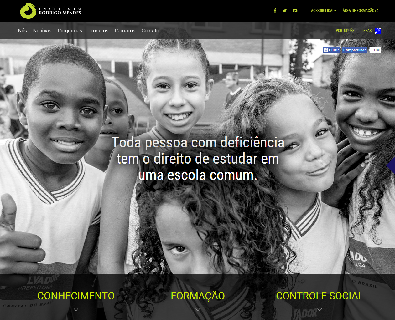 Home do site do Instituto Rodrigo Mendes