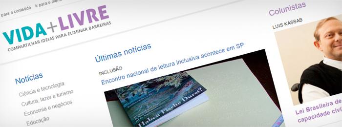 Nova homepage do portal Vida Mais Livre.